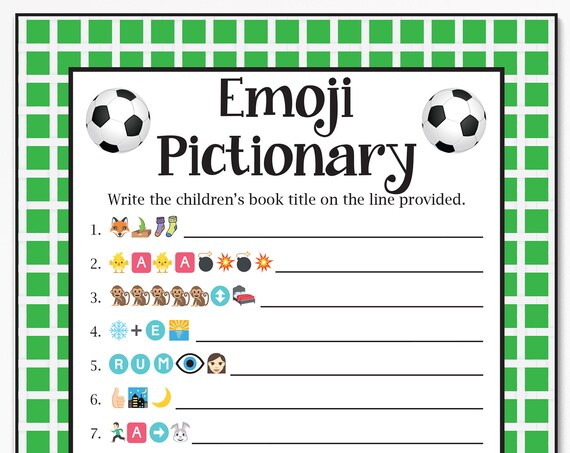 Baby Books Pictionary, Soccer Theme Baby Shower, Baby Boy, Green Printable Game 58Soccer