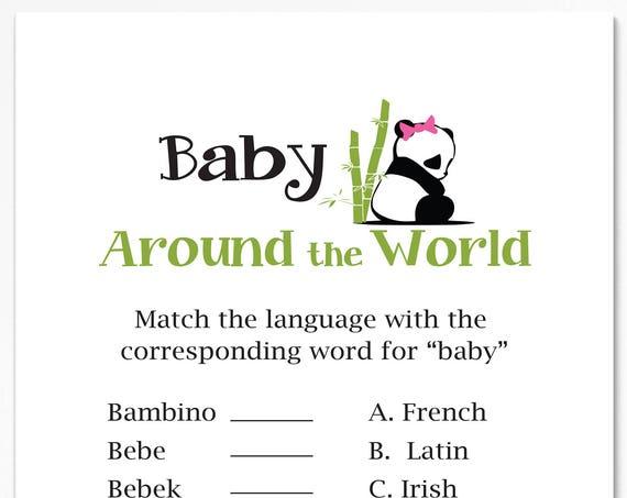 Baby Around the World Game ~ Pink Panda Bear Baby Shower Game ~ Girl Baby Shower  ~ Printable Game  0034Pink