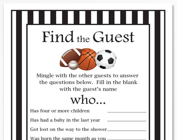 Sport Find the Guest Game, Black and White Referee Stripe Baby Shower Game. Printable Template  50Sport