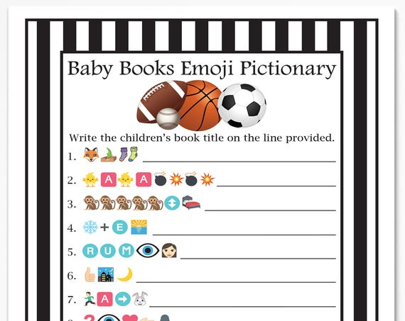 Sport Emoji Baby Books Game, Black and White Referee Stripe Baby Shower Game. Printable Template  50Sport