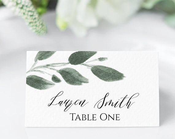 Greenery Place Card Template, Branch Watercolor Design, Wedding Escort Card, 100% Editable, Templett  PPW0450