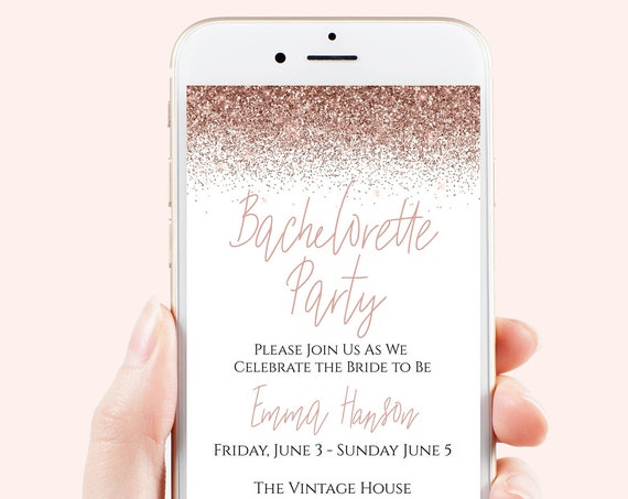 Bachelorette Weekend Evite, Hen Party, Electronic Invitation, Bridal Shower, Rose Gold Glitter, 100% Editable Template, Corjl PPW90 PPW92