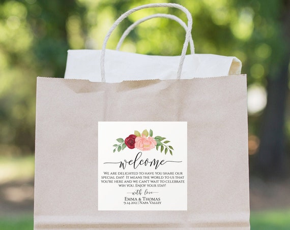 Welcome Bag Tag,  Pink & Red Flower Wedding Template, Floral Label or Sticker, Out of Town Guest, % Editable, Templett PPW0230 PPB0230