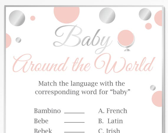 Baby Around the World ~ Pink and Silver Baby Shower Game ~ Baby Girl Polka Dot ~ Printable Game 21SilverP