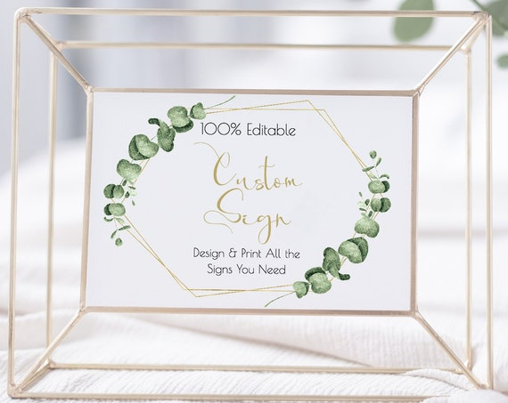 Greenery Wedding Custom Sign Template, Gold Geometric Guest Book, Favors, Cards & Gifts, Bar,  100% Editable, Templett PPW0445