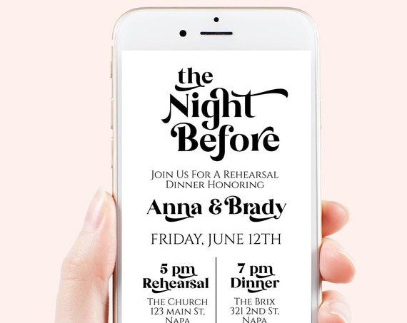 The Night Before Evite, Wedding Rehearsal Dinner, Electronic Invitation, Modern Retro Design, 100% Editable Template, Corjl PPW74
