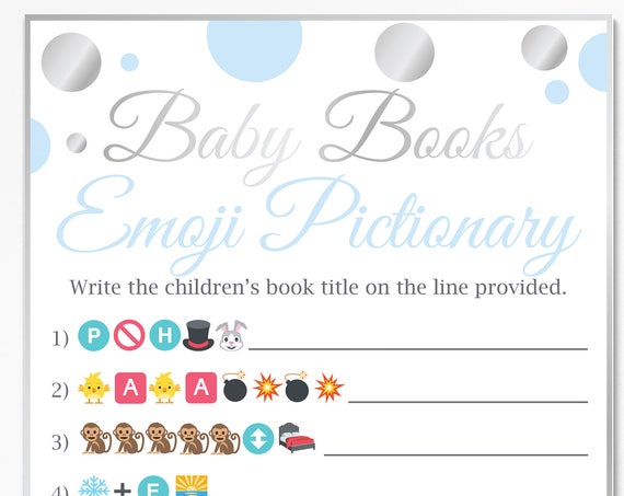 Baby Books Emoji Game ~ Blue and Silver Baby Shower Game ~ Baby Boy Polka Dot ~ Printable Game 21SilverB