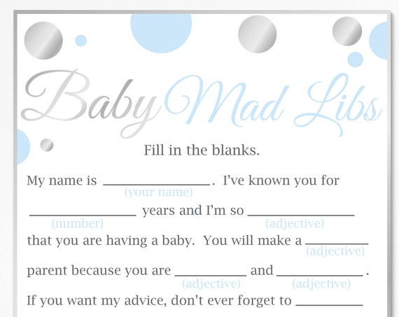 Mad Libs ~ Blue and Silver Baby Shower ~ Baby Boy Polka Dot ~ Printable Game 21SilverB