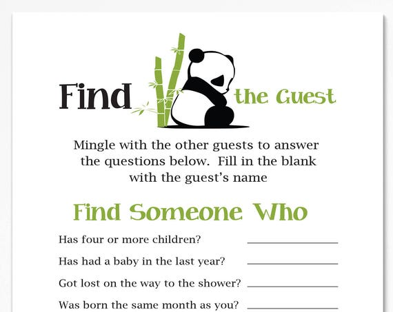 Find the Guest Game ~ Panda Bear Baby Shower Game ~ Gender Neutral Baby Shower  ~ Printable Game  0034