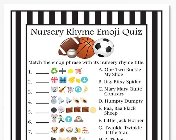 Emoji Nursery Rhyme Quiz, Sport Theme, Football, Baseball, Soccer, Basketball, Referee Stripe, Baby Shower Printable 50Sport