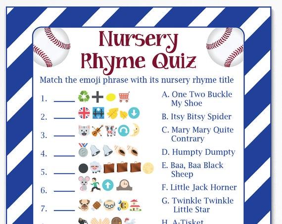 Emoji Nursery Rhyme Quiz, Baseball Theme Baby Shower, Baby Boy, Red, White and Blue Printable Game 54Baseball