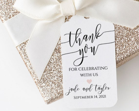Modern Elegant Calligraphy Thank You Wedding Favor Tag and Label 100% Editable Templett PPW0550