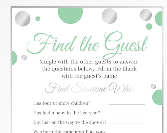 Baby Shower Find the Guest ~ Mint Green and Silver Baby Shower Game ~ Gender Neutral Polka Dot ~ Printable Game 21SilverM