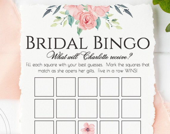 Personalized  Bridal Bingo Game,  Pink Floral Boho Shower, Editable Bridal Activity, Editable Printable Game PPW0220