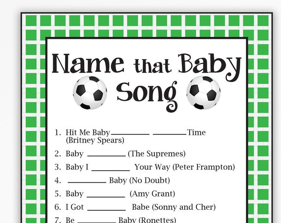Name that Baby Song Game, Soccer Theme Baby Shower, Baby Boy, Green Printable Game 58Soccer