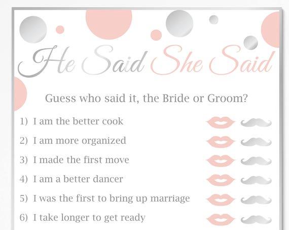 He Said She Said ~ Pink and Silver Bridal Shower Game ~ Polka Dot ~ Printable Game 21SilverPBridal