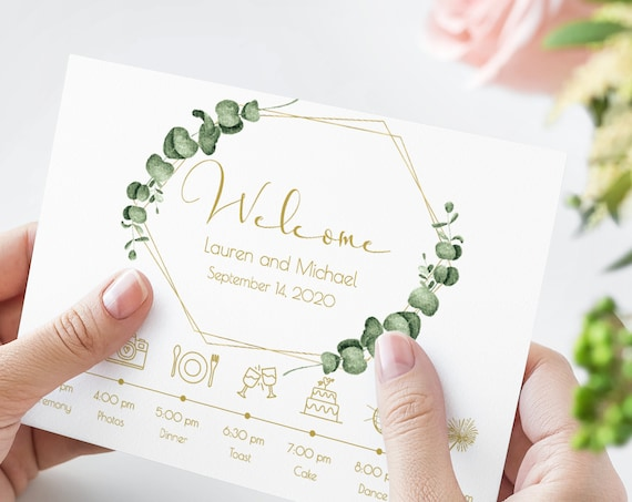 Gold Geometric Greenery Welcome Timeline, Wedding Icon Printable Card, Schedule of Events 100% Editable, Templett PPW0445