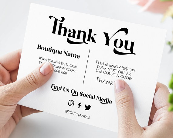 Business Thank You Note, Editable Thank You Card, Packaging Insert, Retro Printable Customer Note, 100% Editable  SM-TY PPB74