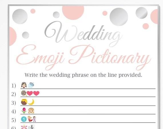 Wedding Pictionary ~ Pink and Silver Bridal Shower Game ~ Bridal Shower Polka Dot ~ Printable Game 21SilverPBridal