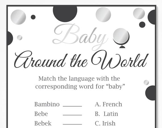 Baby Around the World Game ~ Silver and Back Baby Shower Game ~ Gender Neutral Polka Dot ~ Printable Game 21SilverBlk
