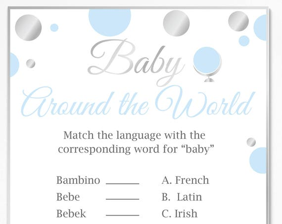 Baby Around the World ~ Blue and Silver Baby Shower Game ~ Baby Boy Polka Dot ~ Printable Game 21SilverB