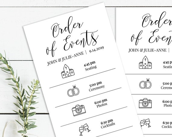 Wedding Order of Events Card, Printable Wedding Day Schedule, Ceremony Itinerary, Order of Service 100% Editable, Templett PPW0550 Grace