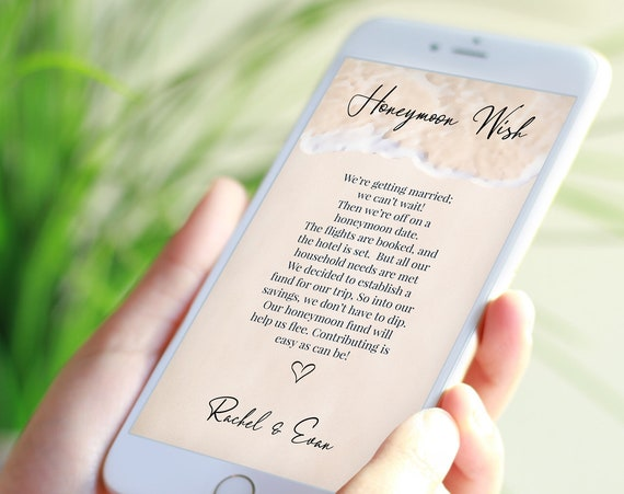 Electronic Honeymoon Wish Fund Card Template, Email, Text Message, Tropical Wedding, Ocean Wave, Blush, Printable Editable PPW20 BREE