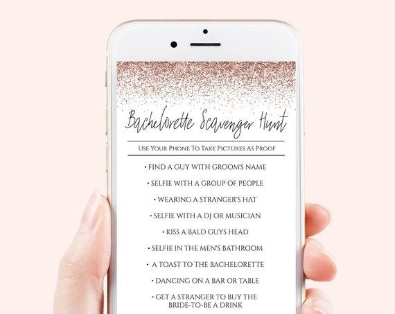 Bachelorette Scavenger Hunt Game, Electronic Template, Bridal Shower, Rose Gold Glitter, 100% Editable, Corjl PPW90 PPW92