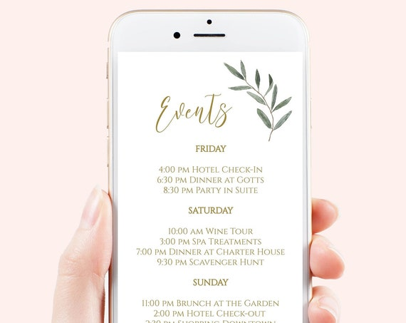Itinerary, Wedding, Bachelorette, Out of Town Guest, Family Reunion, Electronic, Gold Greenery, Mobile Phone Format, 100% Editable PPW800
