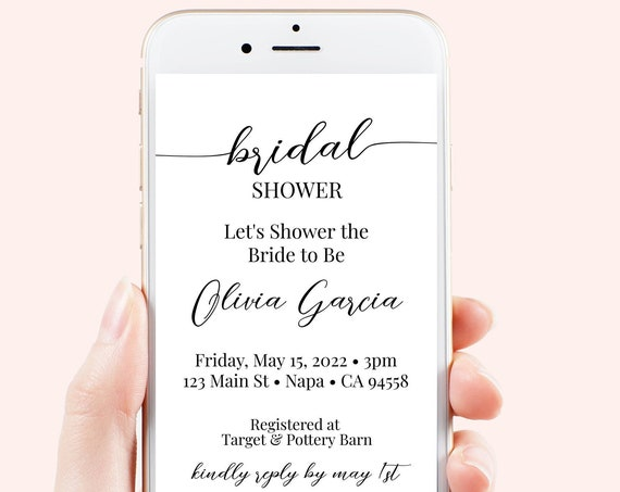 Bridal Shower Invitation, Electronic, Evite, Digital, Text Message, Email, Wedding, Wedding Shower, Event, Invite Editable PPW16 MAE
