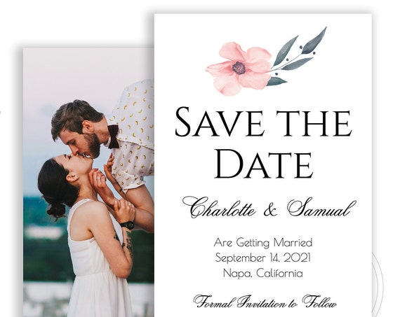 Save the Date Template, Photo Wedding Printable, Bridal Printable Custom, 100% Editable Text, Instant Download, Templett, DIY PPW0220