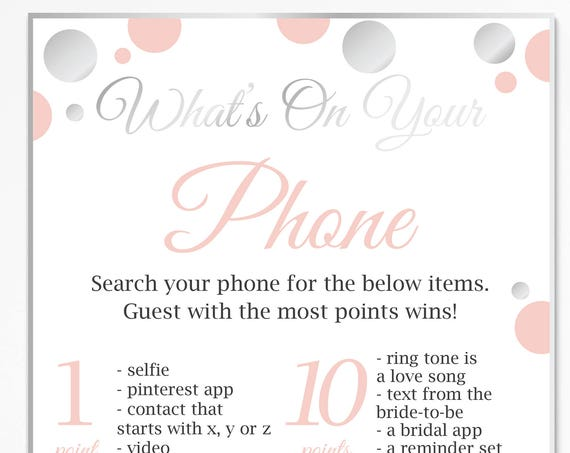 What's on your Phone ~ Pink and Silver Bridal Shower Game ~ Polka Dot ~ Printable Game 21SilverPBridal