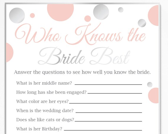 Who Knows the Bride Best ~ Pink and Silver Bridal Shower Game ~ Polka Dot ~ Printable Game 21SilverPBridal