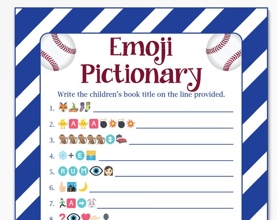 Baby Books Pictionary, Baseball Theme Baby Shower, Baby Boy, Red, White and Blue Printable Game 54Baseball