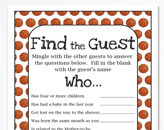 Basketball Theme Find the Guest Game, Baby Shower Game, Sport Theme Baby Boy Printable Template, Baby Shower Game  60Basketball