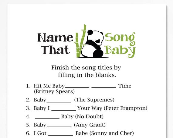 Name That Song Baby Game ~ Panda Bear Baby Shower Game ~ Gender Neutral Baby Shower  ~ Printable Game  0034