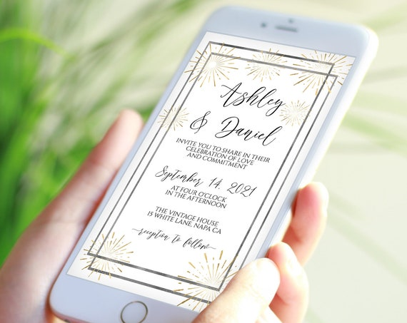 Electronic Wedding Invitation, Mobile Phone Invite, Evite, Text message, Email Details, Editable Text,  Corjl PPW-NY21