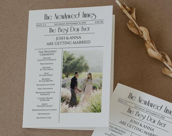 Wedding Newspaper Program, Modern Folding Program, Editable Program, Template, Newspaper, Corjl, Instant Download  PPW1