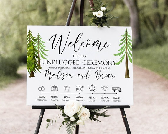Wedding Welcome & Timeline Sign Template, Tree Forest Timeline Printable, Easel Welcome Display Sign, Editable Template, Corjl LINDEN PPW410