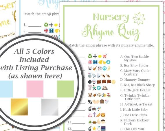 Emoji Nursery Rhyme Quiz ~ Baby Shower Emoji Game ~ Flower~ Gender Neutral ~ Printable Game 30