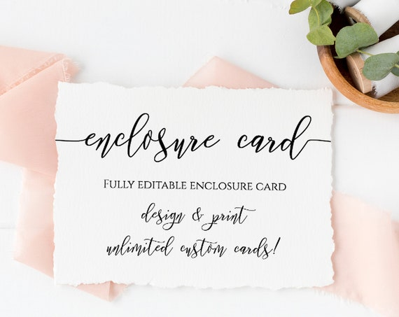 Custom Enclosure Card, Wedding, Bridal or Baby Shower Invitation Details, Simplistic Elegant Font Template 100% Editable, Templett PPW0550