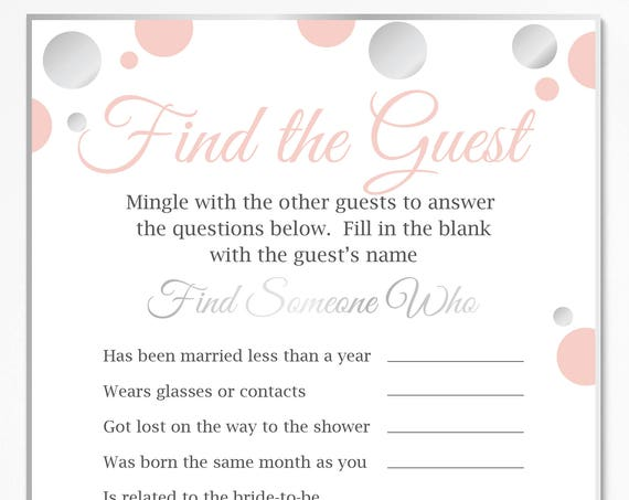 Find the Guest Game ~ Pink and Silver Bridal Shower Game ~ Polka Dot ~ Printable Game 21SilverPBridal
