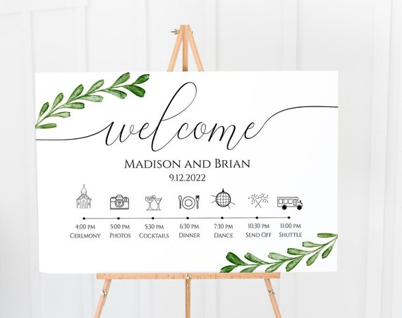 Greenery Wedding Day Welcome Timeline Sign, Printable Wedding Day Schedule, Reception Itinerary, Editable  PPW0560 -G