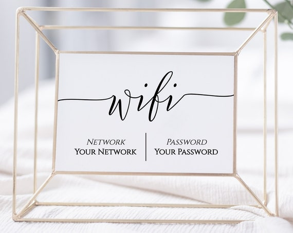 WIFI Password Printable, Wifi Password Sign, Internet Sign, Guest Room Sign,  Instant Download 100% Editable, Templett PPW0550