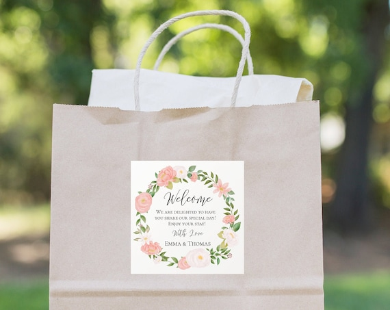 Welcome Bag Tag,  Pink Flower Wedding Template, Floral Label or Sticker, Out of Town Guest, % Editable, Templett PPW0230 PPB0230