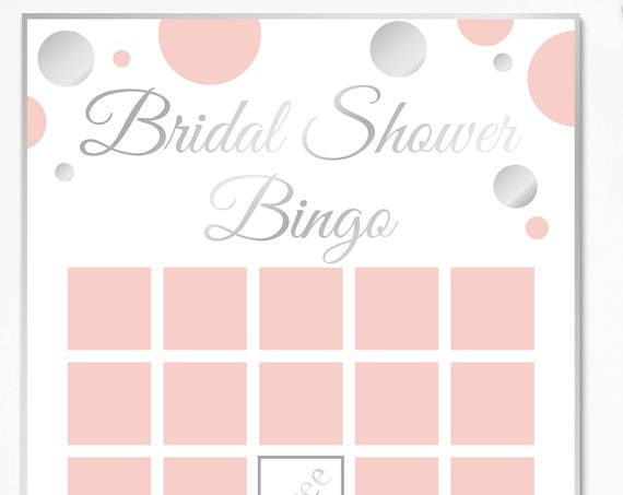 Bridal Shower Bingo Game ~ Pink and Silver Bridal Shower Game ~ Polka Dot ~ Printable Game 21SilverPBridal