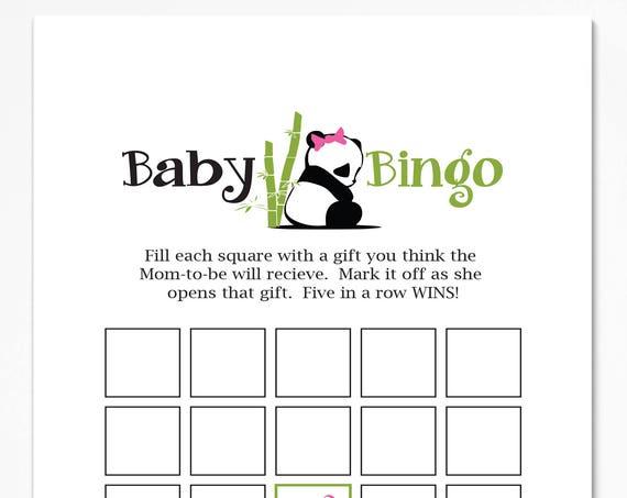 Baby Bingo Game ~ Pink Panda Bear Baby Shower Game ~ Girl Baby Shower  ~ Printable Game  0034Pink