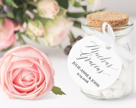 Silver Muchas Gracias Tag, Round Wedding Favor Tag, Favor Thank You Tags, Editable Printable,  Spanish Instant Download, 120