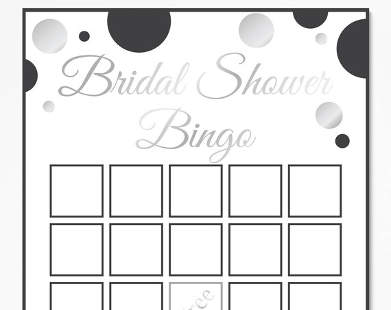 Bridal Shower Bingo Game ~ Black and Silver Bridal Shower Game ~ Polka Dot ~ Printable Game 21SilverBlkBridal