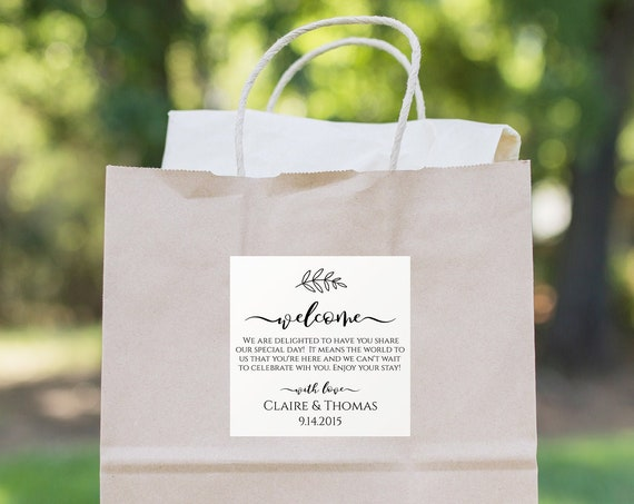 Wedding Welcome Bag Label, Tag, or Sticker for Out of Town Guests, 100% Editable, Templett PPW0575